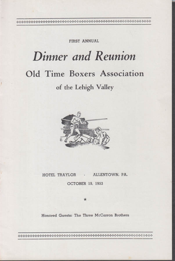 Old Time Boxers Assn Lehigh Valley Dinner & Reunion program Allentown PA 1953