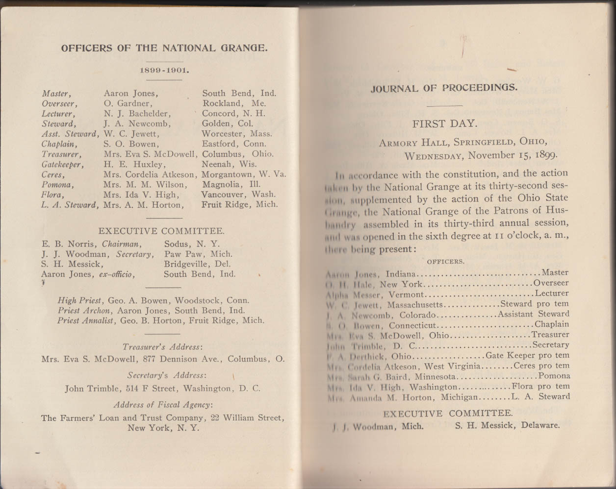 National Grange Patrons of Husbandry 33rd Session Yearbook 1899
