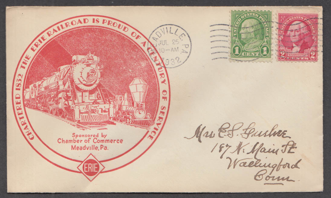 Erie Railroad Century of Service cachet postal cover 1932 Meadville PA