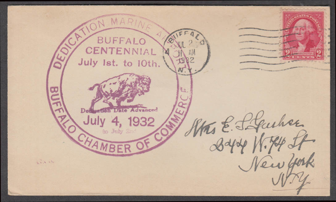 Dedication Marine Airport Buffalo Centennial postal cachet cover 1932