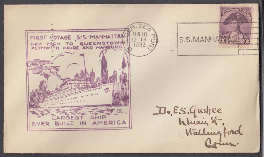 1st Voyage S S Manhattan NY-Queenstown-Plymouth-Havre-Hamburg postal cover 1932