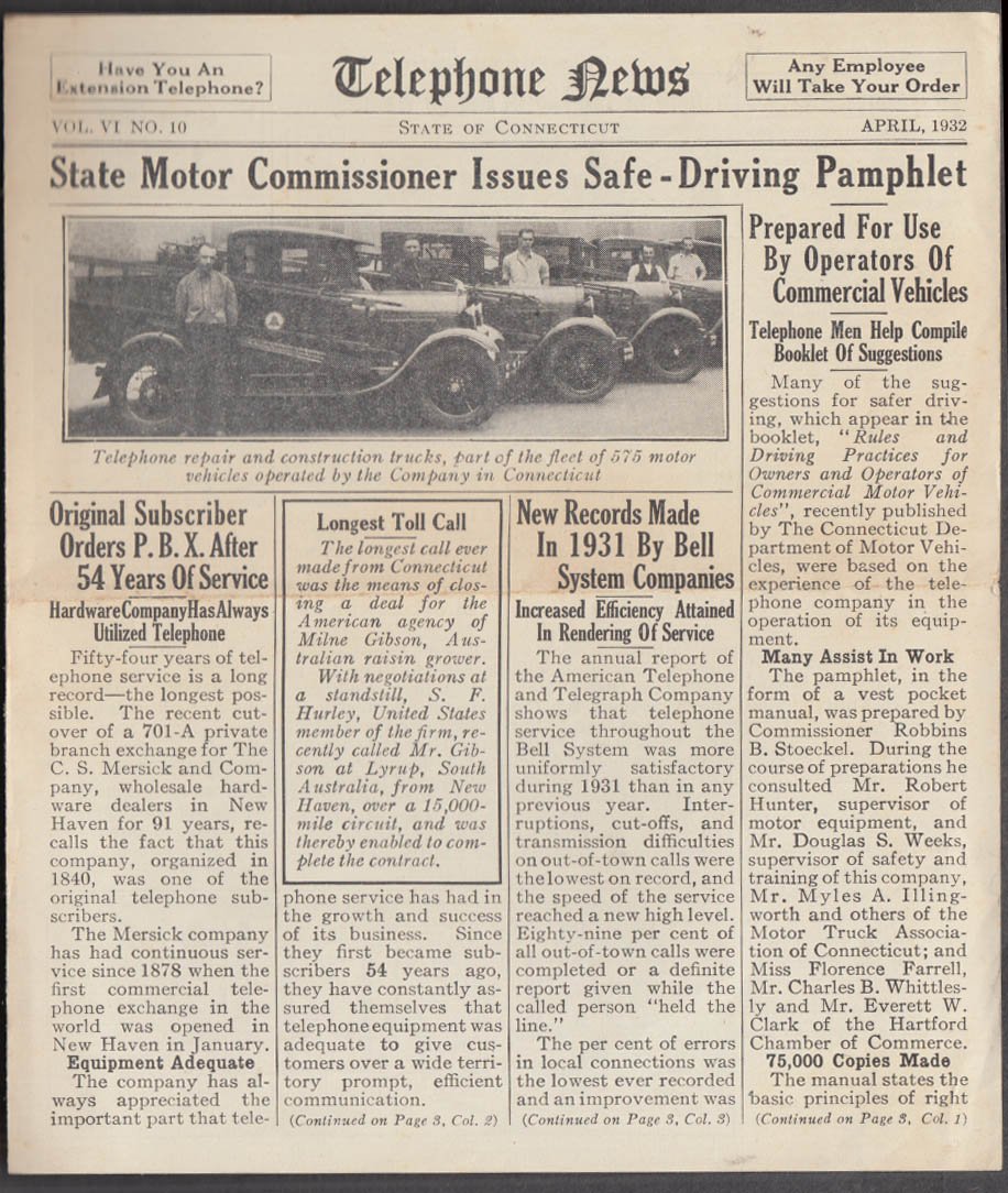 Southern New England TELEPHONE NEWS 4 1932 repair trucks; safe driving