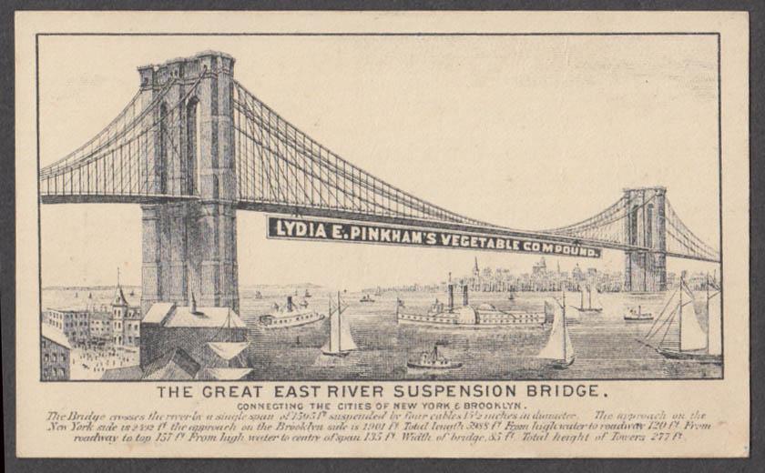 Brooklyn Bridge Lydia E Pinkam's Vegetable Compound trade card 1880s