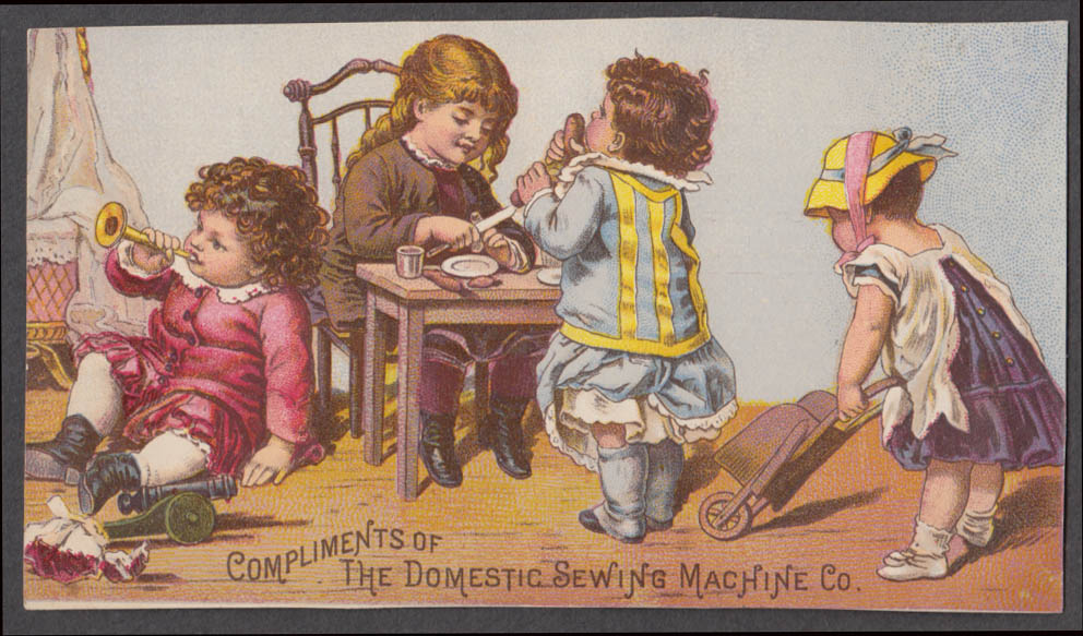 Image for Compliments of Domestic Sewing Machine Co trade card children playing 1880s