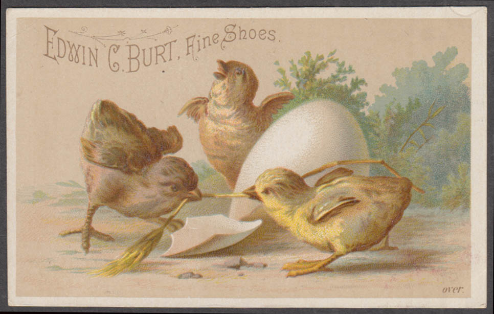 Image for Edwin C Burt Shoes trade card 1880s Wm H Pearson Boston chicks just hatched