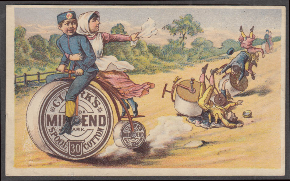 Clark's Mile End Thread trade card pennyfarthing bicycle race 1880s