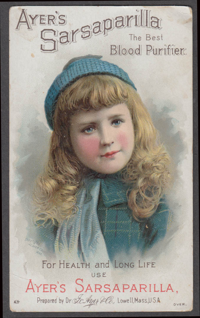 Ayer's Sarsaparilla Blood Purifier trade card blonde girl knit cap 1880s