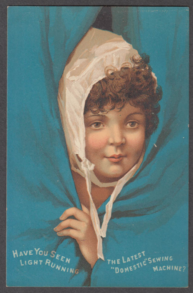 Image for Domestic Sewing Machine trade card 1880s girl in nightcap peeks from drapes
