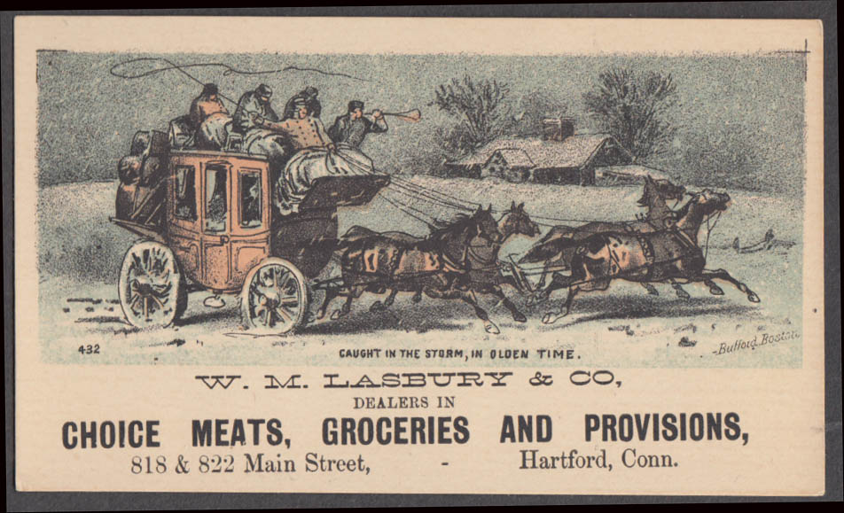 Image for W M Lasbury Meats Groceries Provisions Hartford CT trade card 1880s stagecoach