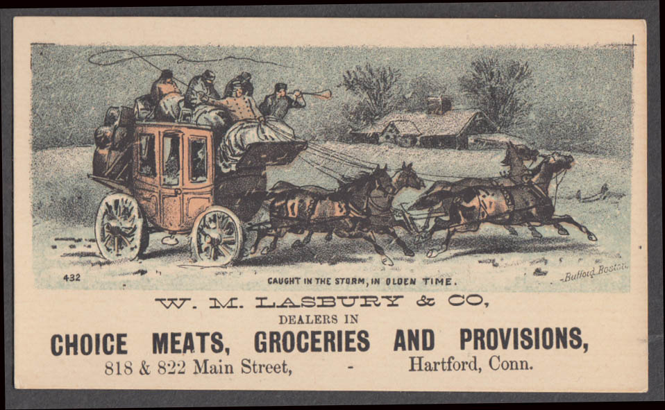Image for W M Lasbury Meats Groceries Provisions Hartford CT trade card 1880s sleigh race