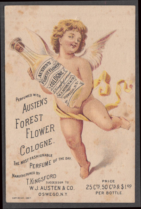 Austen's Forest Flower Cologne trade card Oswego NY 1887 naked winged cherub