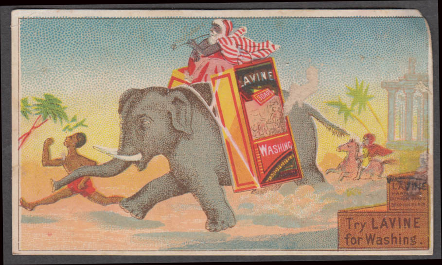 Image for Lavine Washing Soap trade card 1880s Elephant & howdah chases African