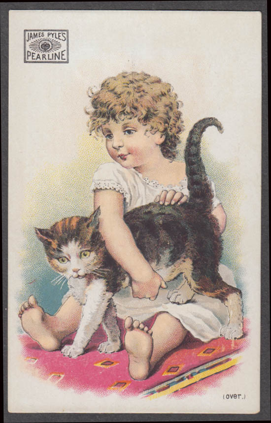 Image for James Pyle's Pearline Soap trade card 1880s little girl & calico cat
