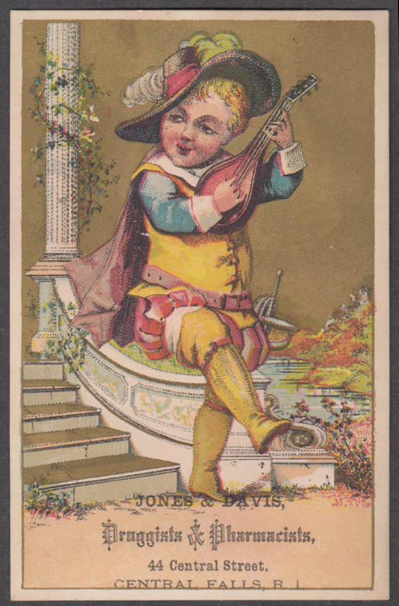 Jones & Davis Druggists Central Falls RI trade card 1880s boy musketeer & lute