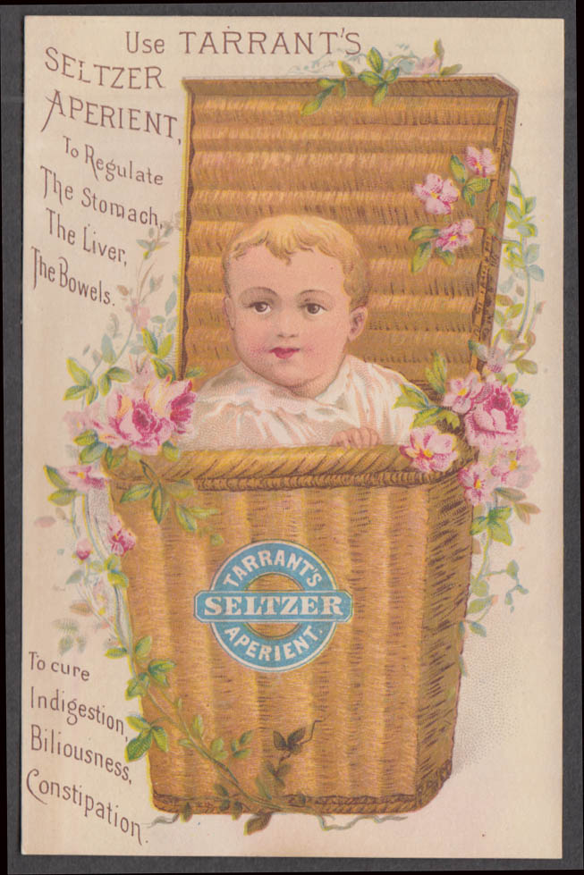 Tarrant's Seltzer Aperient for the bowels trade card 1880s boy in wicker basket