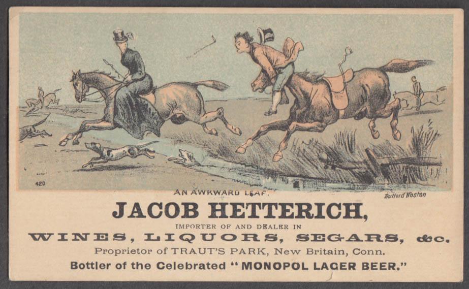Image for Jacob Hetterich Liquor & Segars New Britain CT trade card horse mishap 1880s