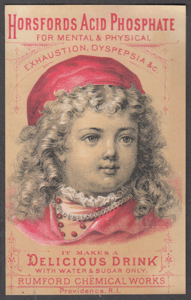 Image for Rumford Horsfords Acid Phosphate for mental exhaustion trade card 1880s curls