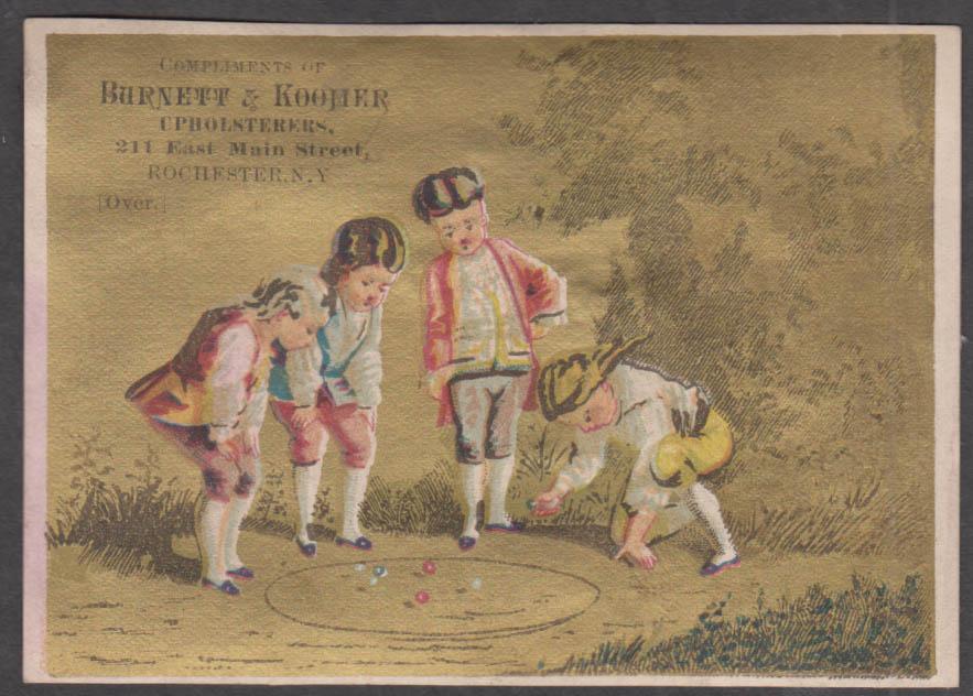Burnett & Koomer Upholsterers Rochester NY trade card 1880s playing marbles