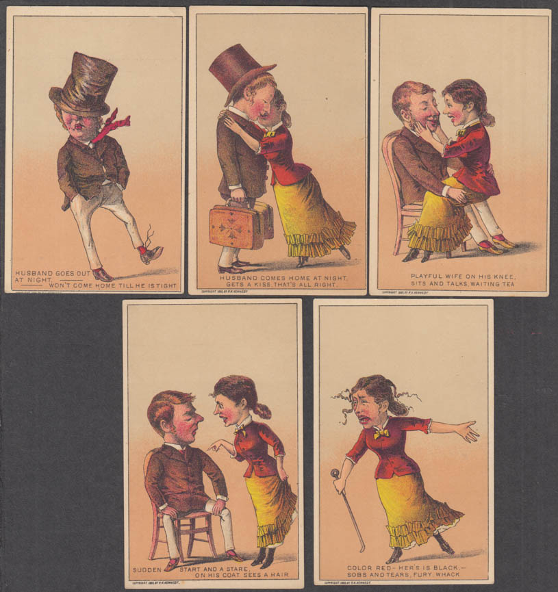 Image for Two-timing husband & wife's revenge set of five trade cards 1883