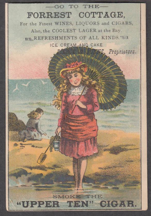 Image for Pierce & Burns Forrest Cottage liquors Upper Ten Cigar trade card 1880s parasol