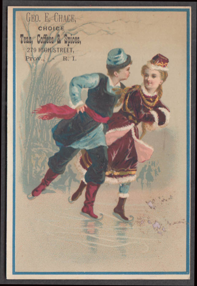 Image for Geo E Chace Tea Coffee Spices Providence RI trade card 1880s couple ice skating