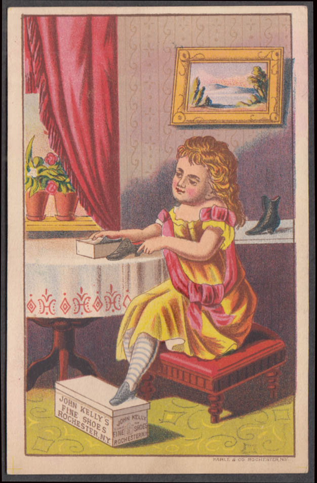 Image for John Kelly's Fine Shoes trade card Rochester NY 1880s girl with shoebox & shoes