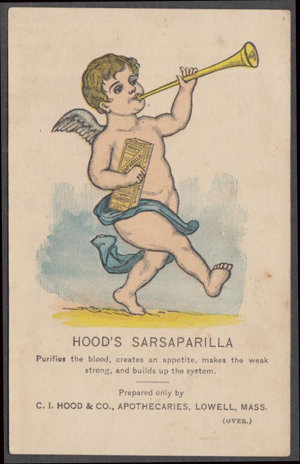 C I Hood's Sarsaparilla Lowell MA trade card 1880s naked cherub blows horn