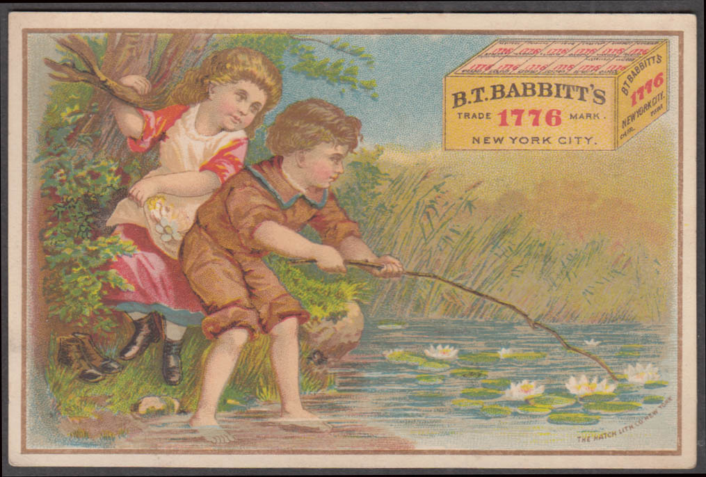 B T Babbitt's 1776 Soap trade card 1880s children nab water lily with stick