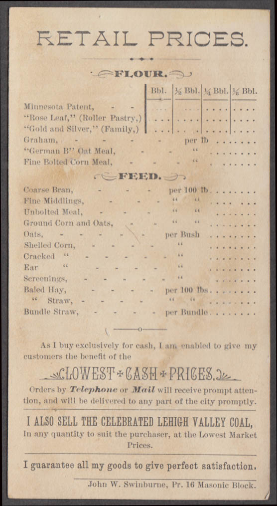 H O Norton Flour Feed & Grain Rochester NY trade card 1880s price list back