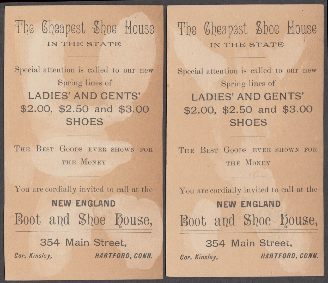 J Samuels New England Boot & Shoe House Hartford CT TWO cat trade cards 1880s