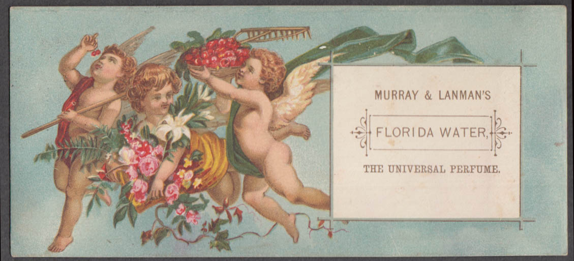 Image for Murrany & Lanman's Florida Water Perfume trade card 1880s 3 cherubs with rake