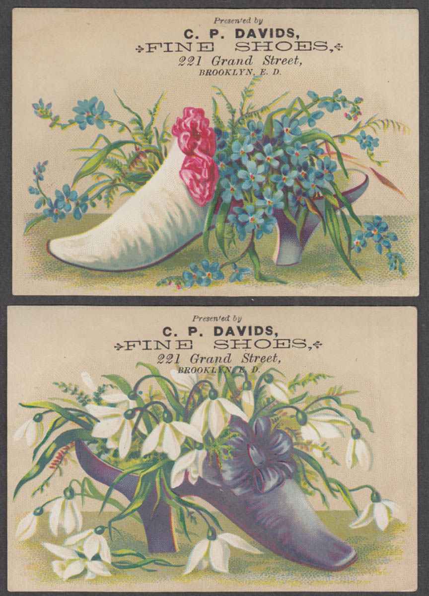 Image for C P Davids Fine Shoes pair of trade cards Brooklyn NY 1880s