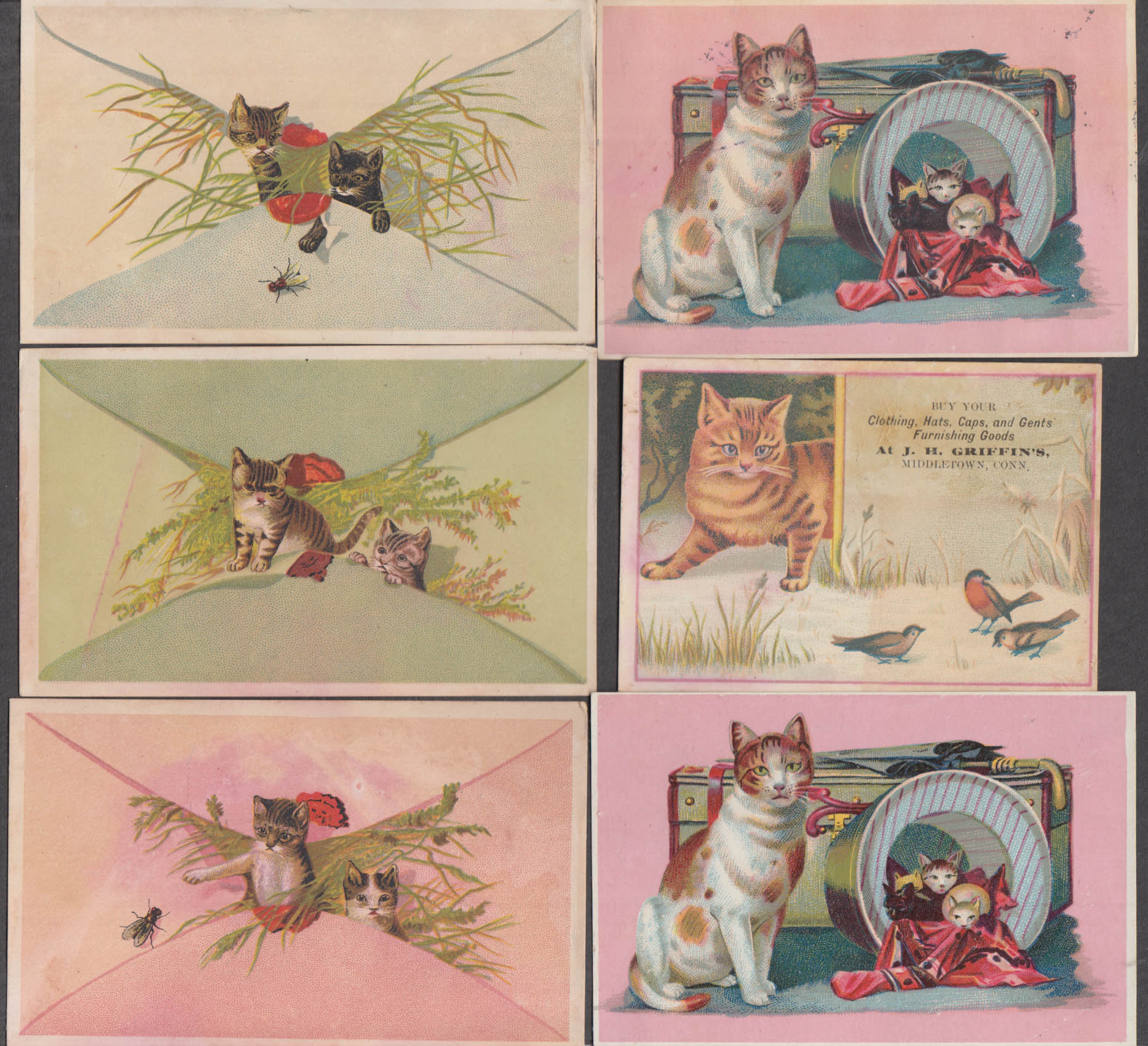 Image for Six different cat themed trade cards 1880s kittens kitty pussycat