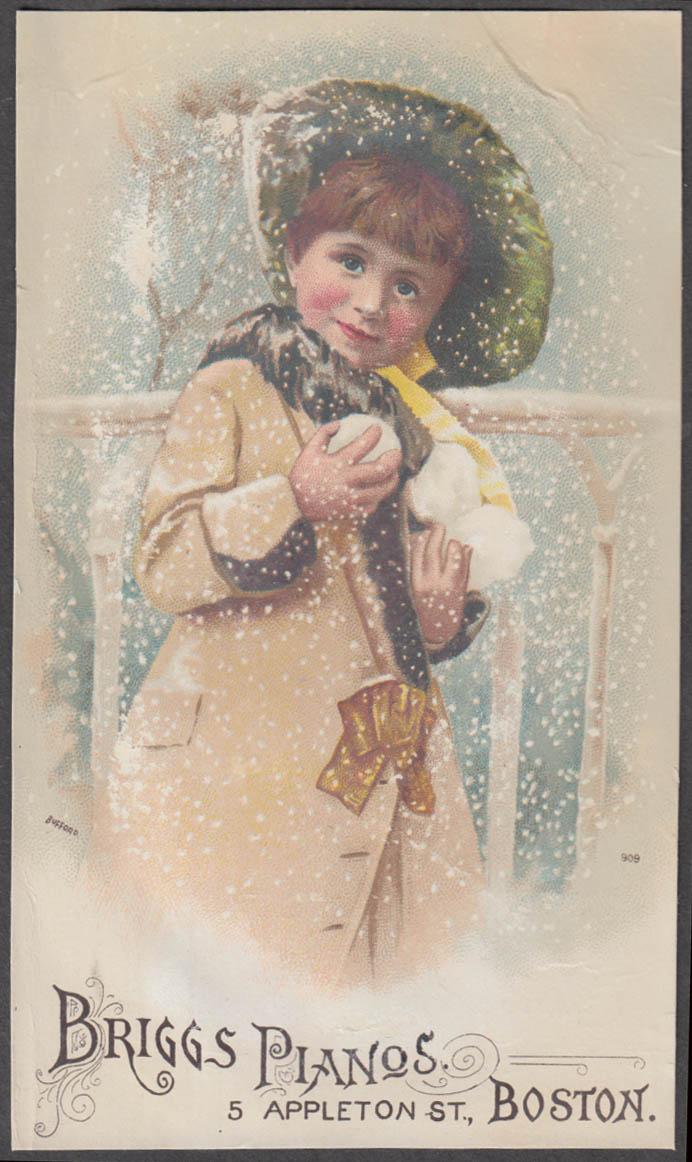 Briggs Pianos trade card Boston girl with snowballs & bonnet 1880s
