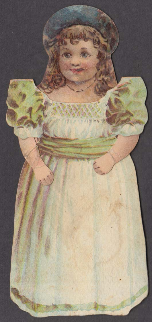 Image for McLaughlin's Coffee Girl Doll premium mechanical trade card 1880s
