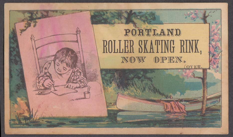 Image for Portland ME Roller Skating Rink trade card 1880s Music by the Rink Band
