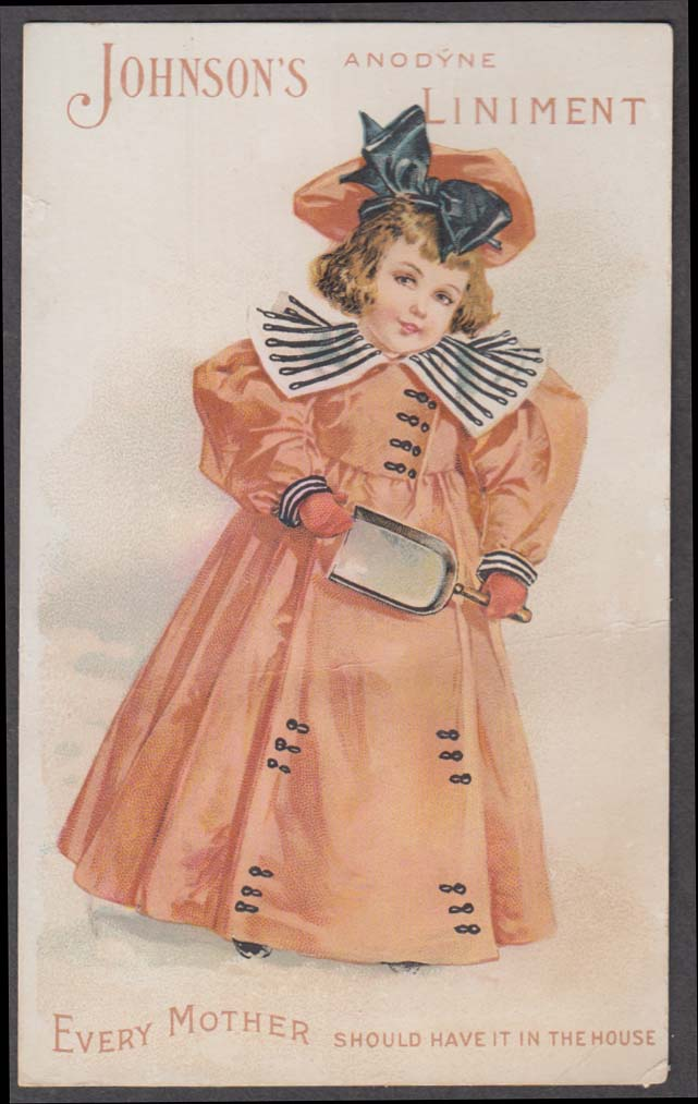 Image for Johnson's Anodyne Liniment trade card 1880s girl orange dress & scoop
