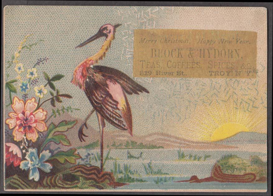 Brock & Hydorn Tea Troy NY Xmas trade card 1880s Fire Alarm Boxes list on back