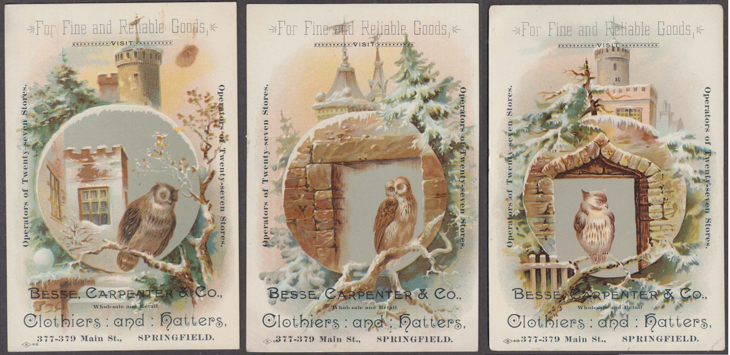 Besse Carpenter Clothiers Springfield MA THREE Owl-motif trade cards 1880s