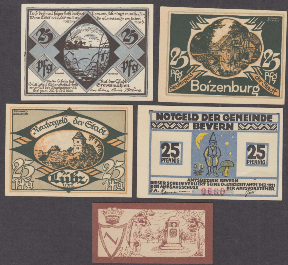 Image for Lot of FIVE different 25 pfennig notes 1922