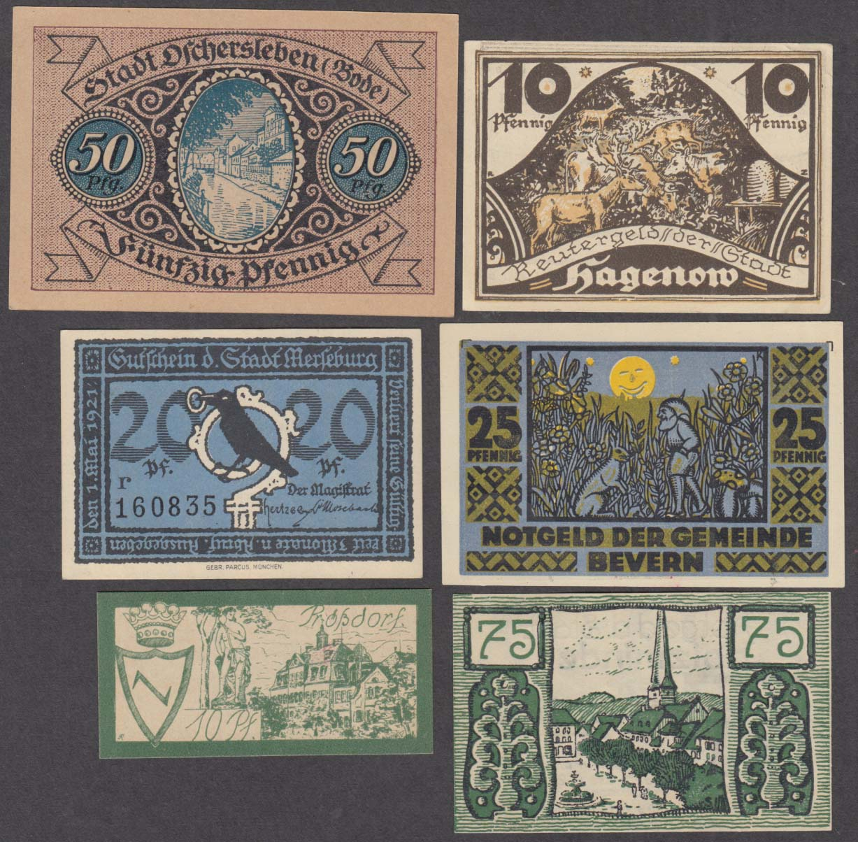 Image for Lot of assorted value pfennig bank notes 1921-1922 10pf 20pf 25pf 50pf 75pf