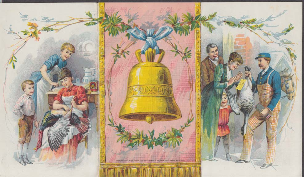 Bell's Spiced Seasoning Christmas Turkey folder trade card 1880s
