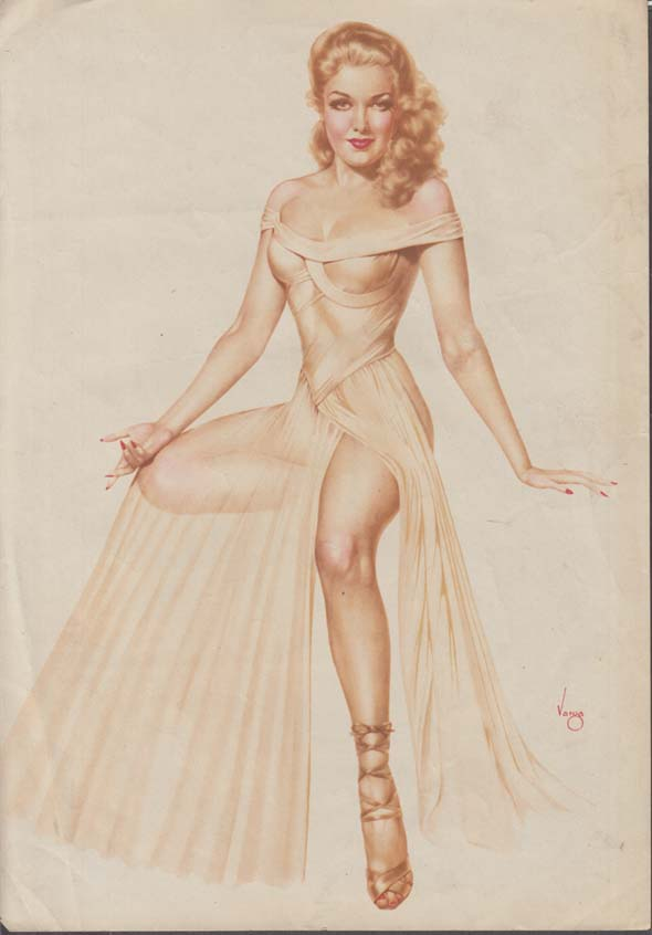 Alberto Vargas Varga pin-up sheet seated blonde in diaphanous garb 1940s