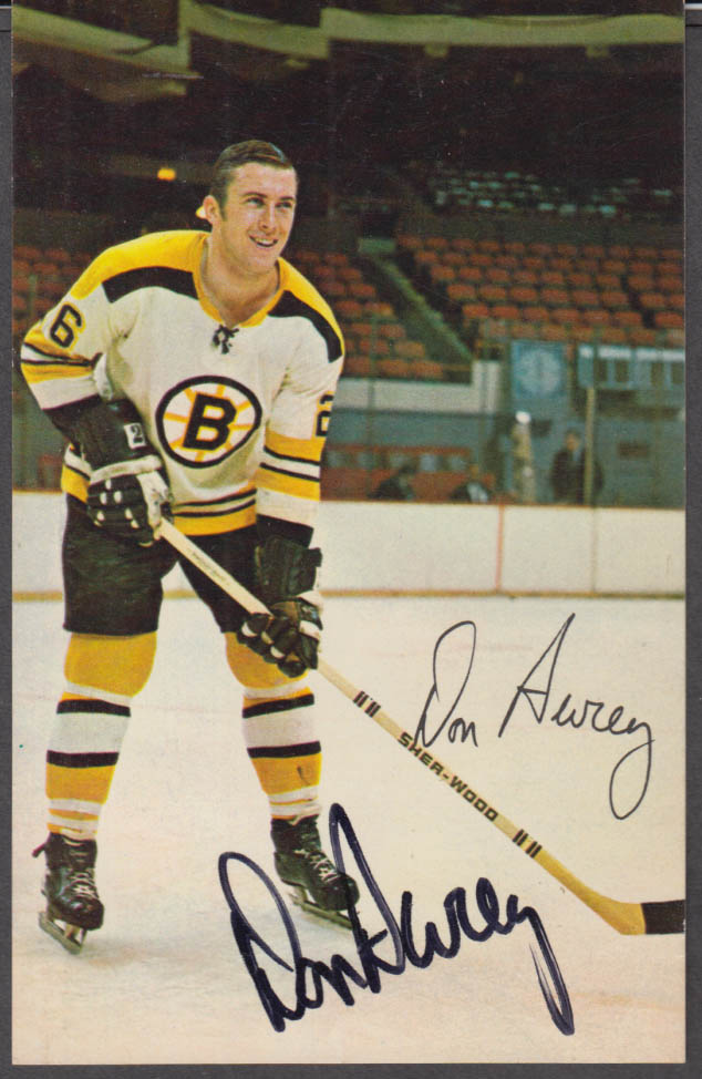 Boston Bruins Don Awrey SIGNED card 1970