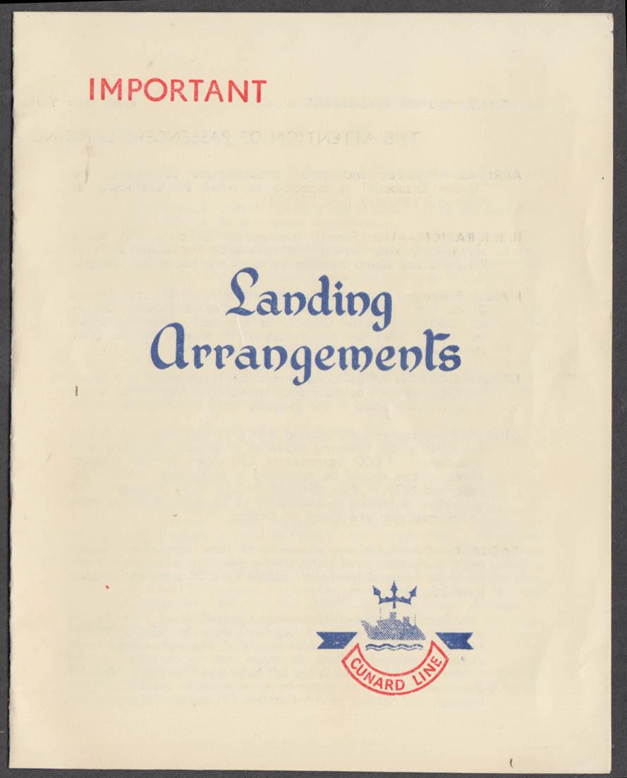 Cunard R M S Queen Elizabeth Cherbourg Landing Arrangements folder 6/22 1951