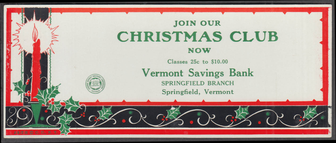 Vermont Savings Bank Join our Christmas Club blotter Springfield VT 1940s