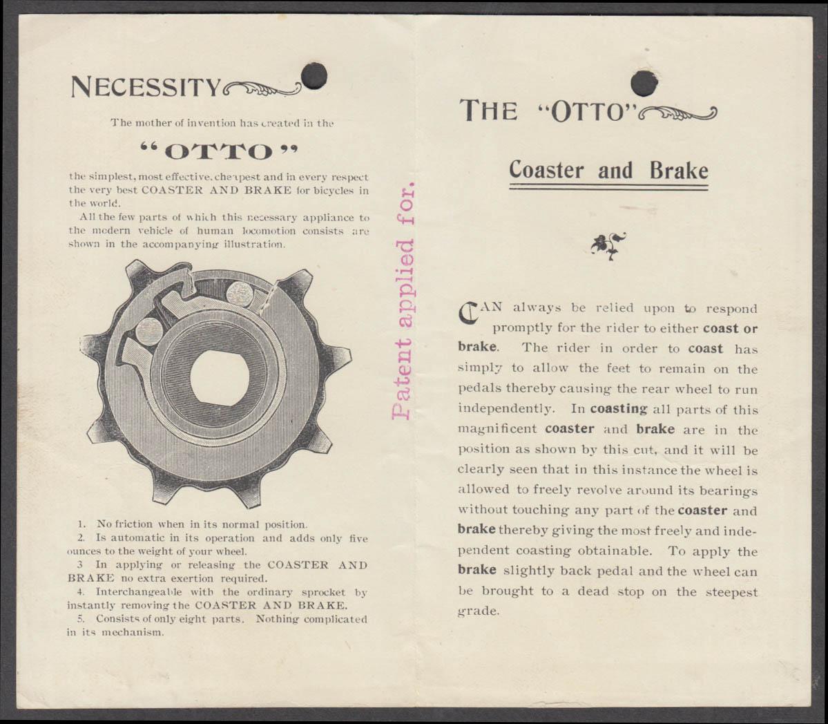 Otto Coaster Brake for Bicycles folder Stockton Mfg Newark NJ ca 1900
