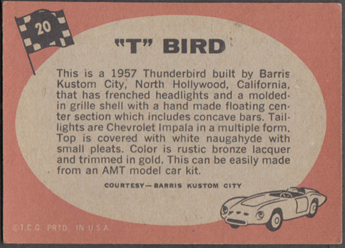 1968 Topps Trading Card Hot Rods #20 1957 George Barris Thunderbird