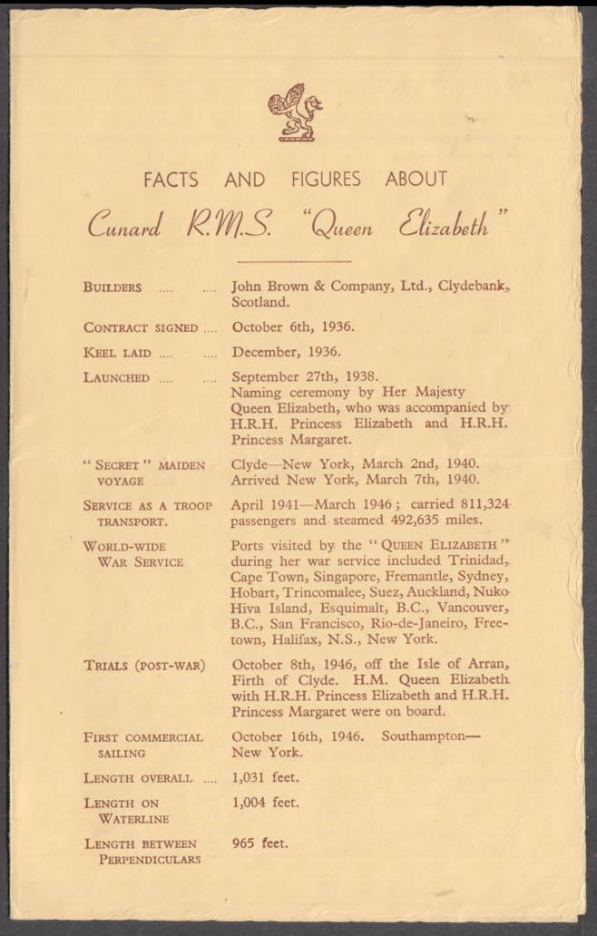 Cunard R M S Queen Elizabeth Facts & Figures folder 1946