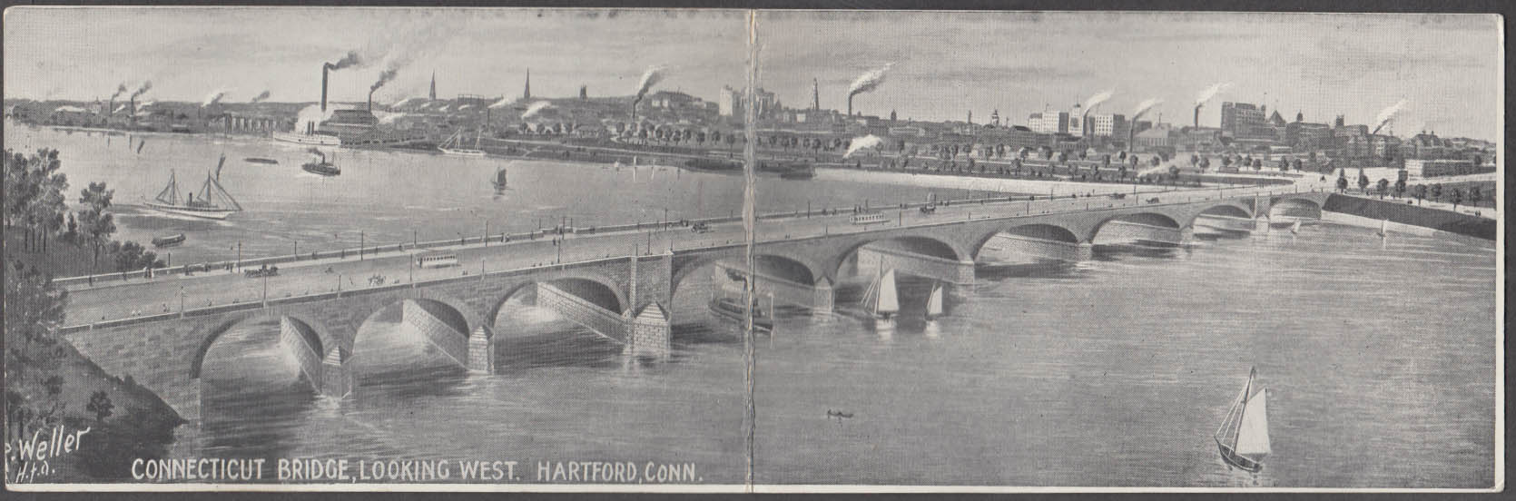 New Connecticut River Bridge [Bulkeley] Hartford double-wide postcard ca 1908